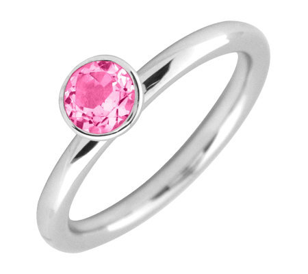 Simply Stacks Sterling Round Pink TourmalineRing