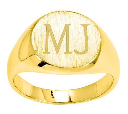 Personalized Satin Round Signet Ring, 14K Gold