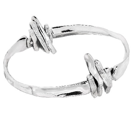 Hagit Sterling Textured and Polished Slip-On Bangle
