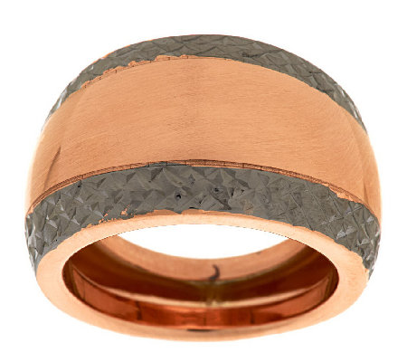 """As Is"" Italian Gold Two-Toned Diamond Cut Border Domed Ring,14K"