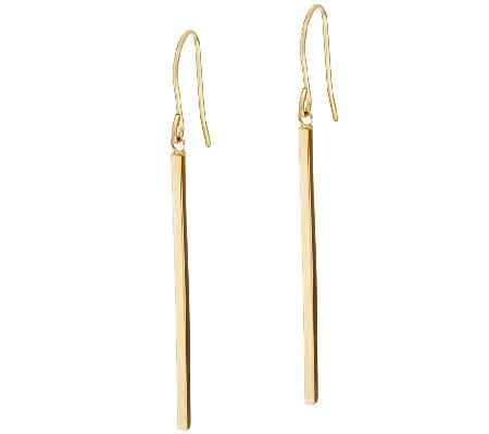 14k Gold Polished Stick Dangle Earrings