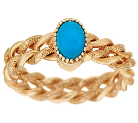 14K Gold Sleeping Beauty Turquoise Textured Twisted Ring