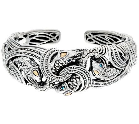 JAI Sterling & 14K Andaman Sea Golden Koi Fish Cuff Bracelet