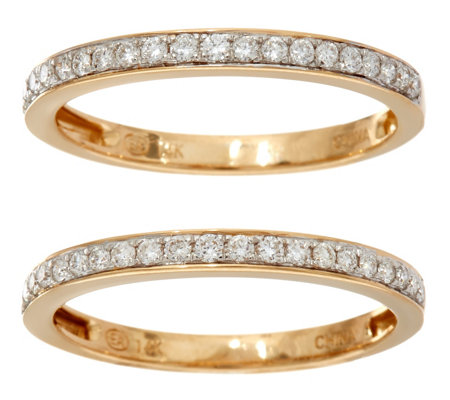 White Diamond Set of 2 Band Rings, 14K Gold 1/3 cttw by Affinity