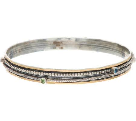 Or Paz Sterling Silver Gemstone Accent Spinner Bangle