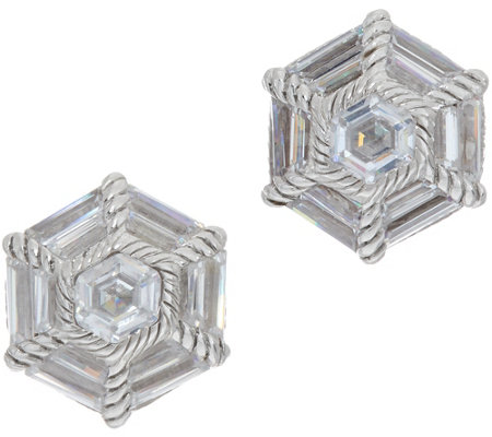 Judith Ripka Sterling Silver Baguette Diamonique Stud Earrings