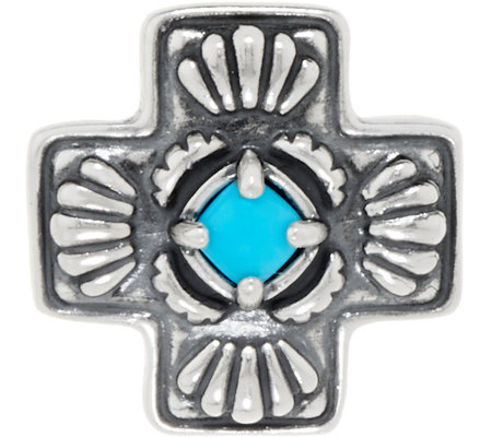 American West Sleeping Beauty Turquoise Sterling Silver Cross Enhancer