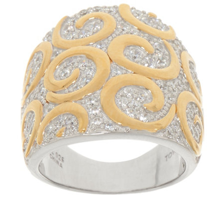 TOVA Diamonique Two-Tone Swirl Design Ring, Sterling