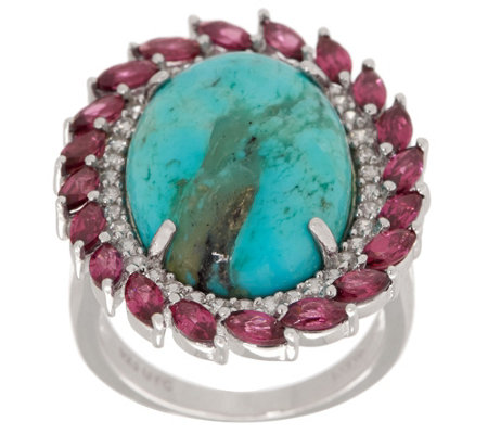 Kingman Turquoise & 2.45 cttw Gemstone Ring Sterling