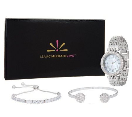 """As Is"" Isaac Mizrahi Live! 3-Piece Mother- of-Pearl Watch Set w/Cuff"