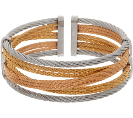 ALOR Cable Stainless Steel Open Cuff Bracelet