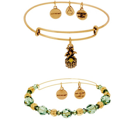Alex and Ani S/2 Bangles w/ Charms & Swarovski Crystals