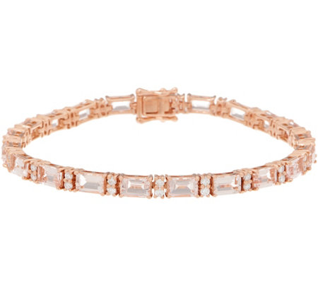 "Morganite and Diamond 7-1/4"" Tennis Bracelet, 8.70 cttw, 14K"