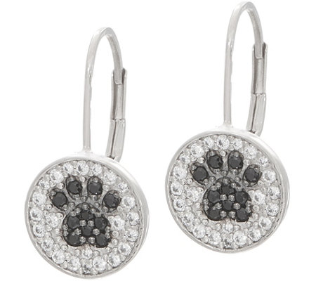 Diamonique Motif Lever Back Earrings, Sterling