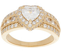 Diamonique 100 Facet Halo Design Ring, 14K Gold Clad - J357656