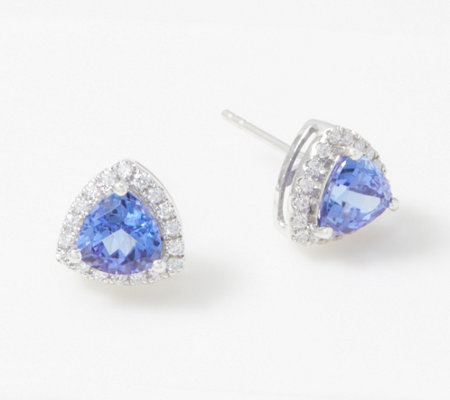 Trillion-Cut Tanzanite & Diamond Stud Earrings, 1.50 cttw, 14K Gold