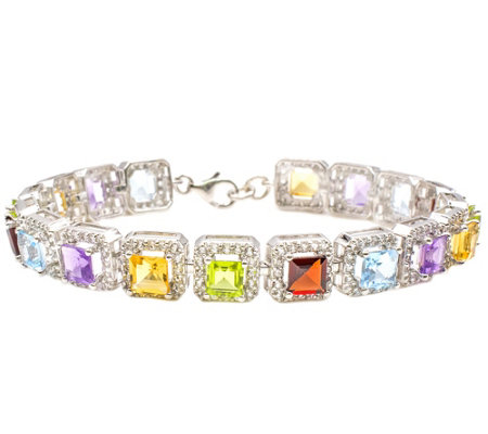 Sterling 13.00 cttw Multi-Gemstone & White Topaz Bracelet