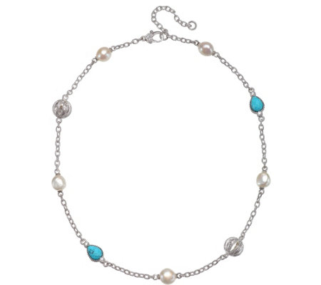 Judith Ripka Sterling Turquoise, Pearl & Diamonique Necklace