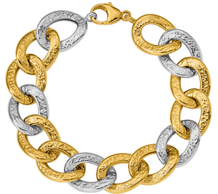 "14K Two-tone Polished & Textured Bold Link 8"" Bracelet, 18.6g"