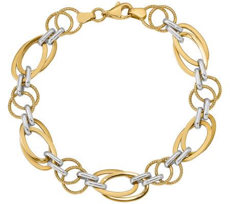 Italian Gold Two Tone Oval Round Link Bracelet 14k 5 5g