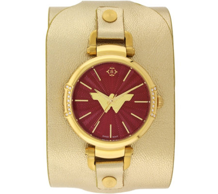 Women's Wonder Woman Crystal Gold Leather CuffWatch