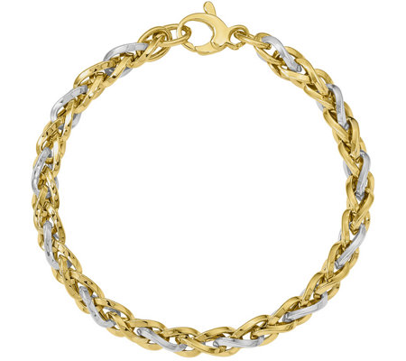 14K Two-Tone Braided Bracelet, 5.3g