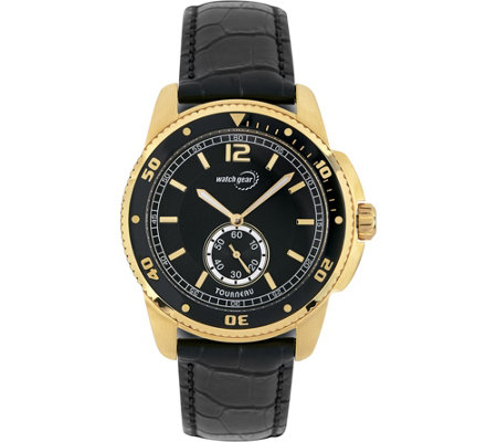 Tourneau Men's Goldtone Black Leather Strap Analog Watch