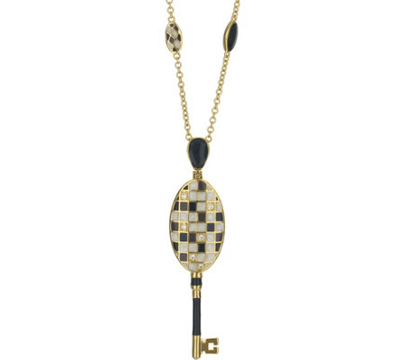 Lauren G Adams Goldtone Mosaic Colored Enamel Pendant Necklace