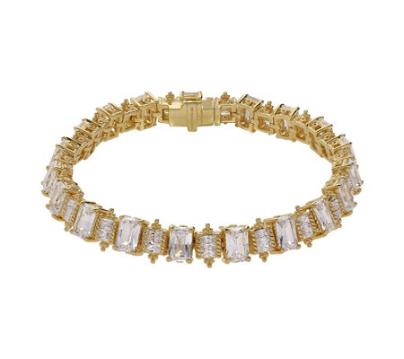 "Judith Ripka 14K Clad 6-3/4"" Emerald Cut Diamonique Bracelet"