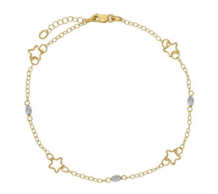 Italian Gold Two-Tone Star & Beads Anklet 14K,2.2g