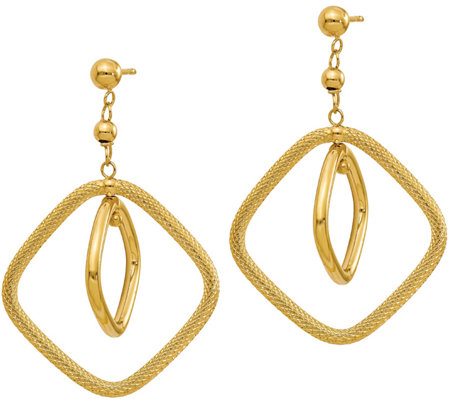 Italian Gold Textured Square Dangle Earrings, 14K