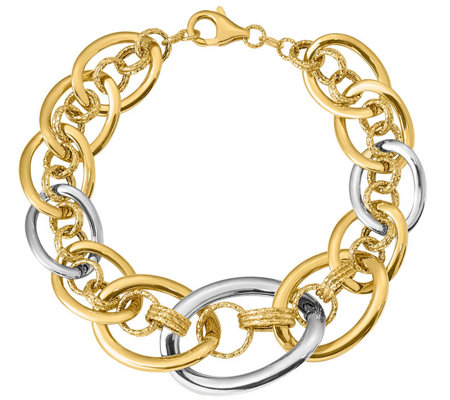 Italian Gold Two-Tone Oval Textured Link Bracelet 14K, 10.8g