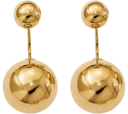 14K Gold Double Ball Screwback Earrings, 6.5g