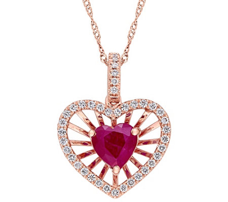 14K Gold 1.00 cttw Ruby & Diamond Heart Pendantw/ Chain