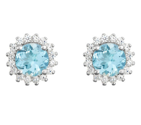 14K Gold 1.20 cttw Round Aquamarine Halo Stud Earrings
