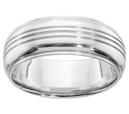 Sterling Silver 8mm 3 Grooves Ridged Edge BandRing