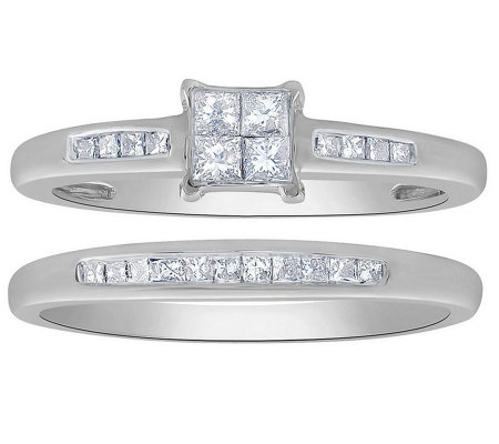 Affinity 14K Gold 2/5 cttw Diamond Channel RingSet