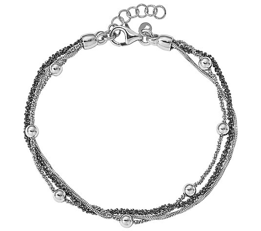 Italian Silver Two-Tone Layered Bracelet, Sterling 6.8g