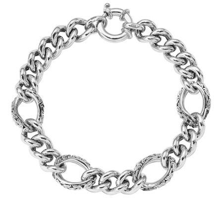 Italian Silver Curb Link Bracelet 21 1g
