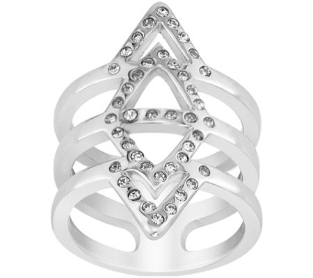 Steel by Design Crystal Chevron Ring