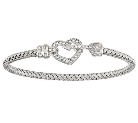 Italian Silver Crystal Heart & Arrow Bracelet