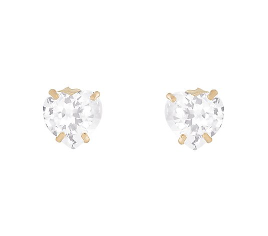 Diamonique .75 ct tw Heart Stud Earrings, 14K Gold