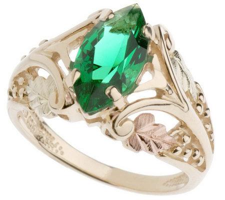 Black Hills Bold Marquise Pink or Green Helenite Ring 10K 12K Gold