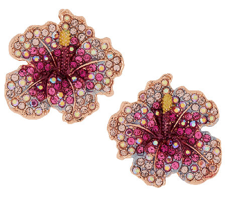 Joan Rivers Elegance in Bloom Pave' Hibiscus Earrings