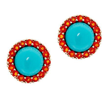Sleeping Beauty Turquoise Mexican Fire Opal On Earrings