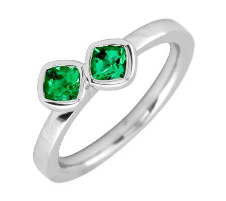 Simply Stacks Sterling & Created Emerald Double-Square Ring