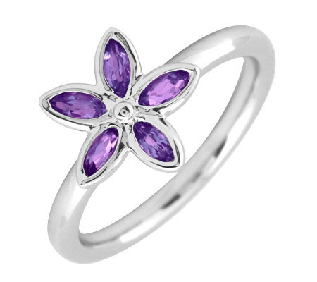 Simply Stacks Sterling & Amethyst Romantic Flower Ring