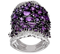Bold Multi-Cut Gemstone & White Zircon Sterling Silver Ring, 8.00 cttw - J325357