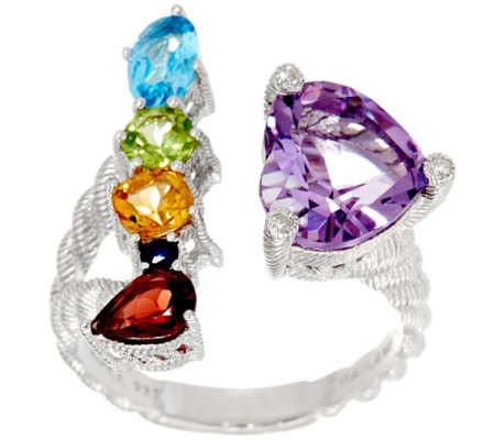 Judith Ripka Sterling Silver 3.80 cttw Gemstone Heart Ring