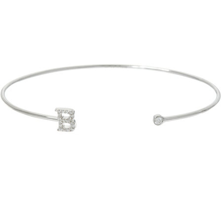 Diamonique Polished Initial Cuff Bracelet, Sterling